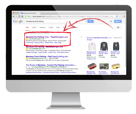 trout wranglers fly fishing adwords