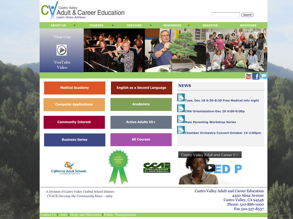 Adult School Education Web Design Bay Area SEO CMS Development