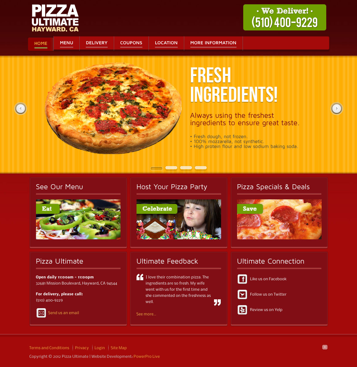Pizza delivery websites web design bay area seo cms for Cuisine site